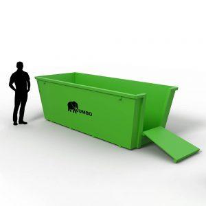 builder loading concrete into a 6m skip bin via the fold-down door